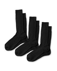 Black ribbed cotton 3 pack socks