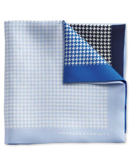 Blue silk puppytooth classic pocket square