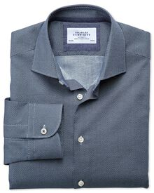 Slim fit semi-cutaway collar business casual circle print navy shirt