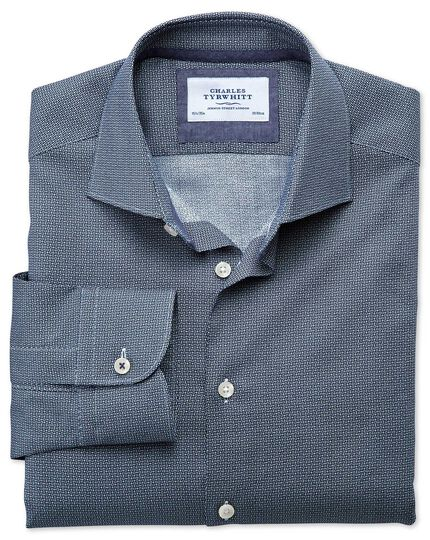 Slim fit semi-spread collar business casual circle print navy shirt