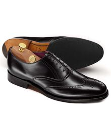 Black Hampstead calf leather wing tip brogue Oxford shoes