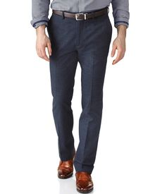 Mid blue slim fit cotton flannel trouser