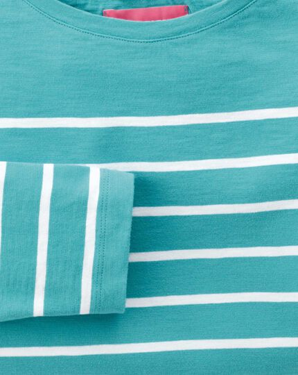Women's green and white breton stripe boat neck cotton jersey top