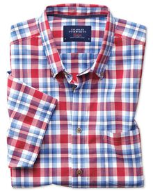 Classic fit button-down poplin short sleeve sky blue and red check shirt