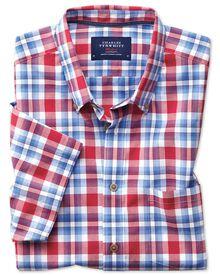 Slim Fit Kurzarmhemd aus Popeline in Himmelblau und Rot mit Karos