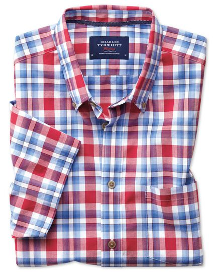 Slim fit button-down poplin short sleeve sky blue and red check shirt
