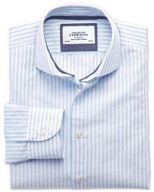 Extra slim fit spread collar business casual sky blue and white striped shirt
