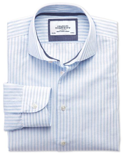 Extra slim fit cutaway collar business casual sky blue and white striped shirt
