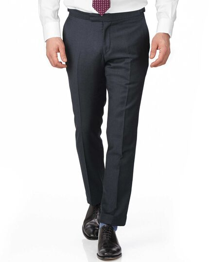 Blue slim fit British serge puppytooth luxury suit pants