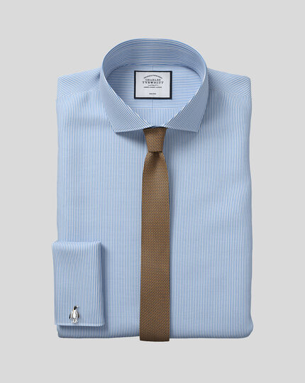 Extra slim fit spread collar non-iron bengal stripe sky blue shirt