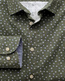 Slim fit olive paisley print shirt