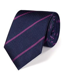 Navy and pink silk classic stripe tie