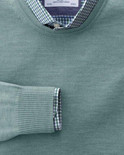 Light green merino wool crew neck sweater