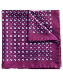 Purple classic printed geometric pocket square