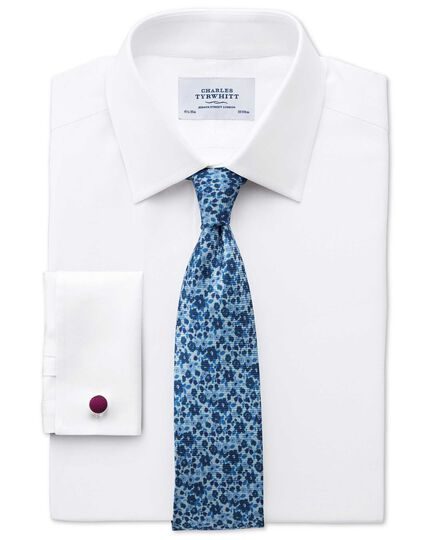 Sky and navy silk classic tie