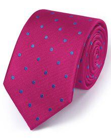 Dark pink silk classic spot tie