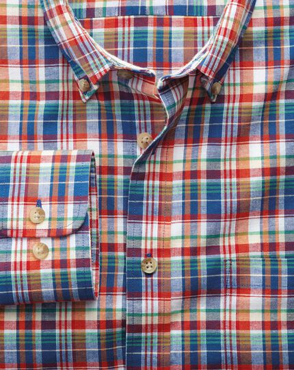 Slim fit orange and blue check shirt