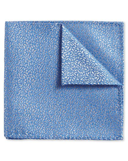 Light blue floral leaf English luxury pocket square