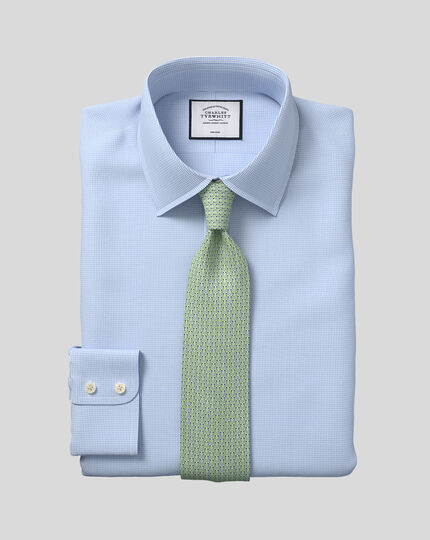 Classic fit non-iron puppytooth sky blue shirt