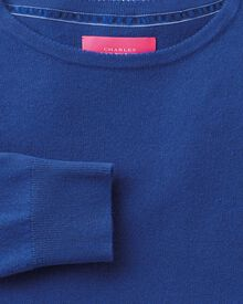 Royal blue merino cashmere long line jumper
