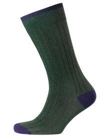 Green ribbed socks