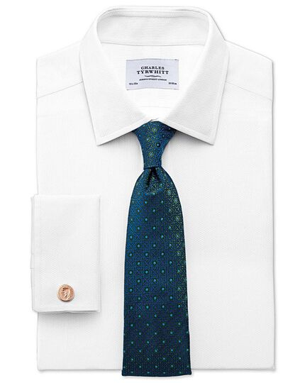 Slim fit Egyptian cotton diamond texture white shirt