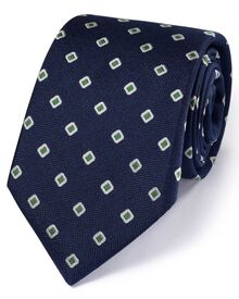 Navy silk classic Oxford square tie