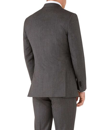 Mocha slim fit peak lapel hairline business suit jacket