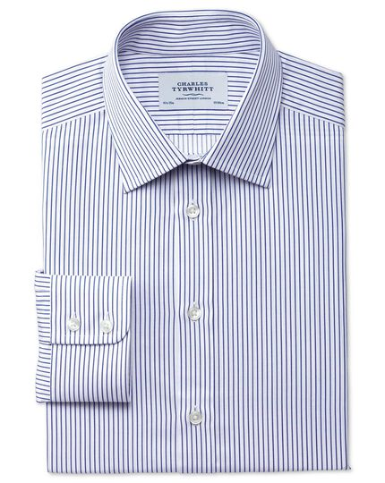 Slim fit Egyptian cotton stripe white and navy shirt