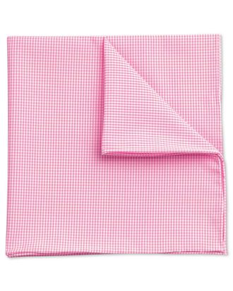 Pink classic fine gingham cotton pocket square