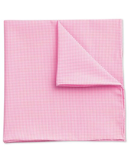 Pink cotton fine gingham classic pocket square
