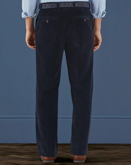 Navy classic fit cord pants