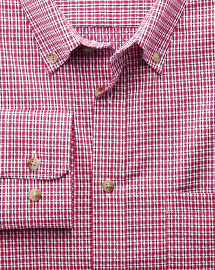 Slim fit non-iron poplin coral and navy check shirt