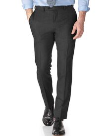 Grey slim fit saxony business suit trousers