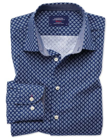 Classic fit blue and white geometric print shirt