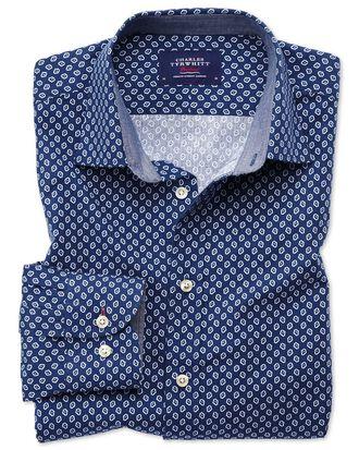 Extra slim fit blue and white geometric print shirt