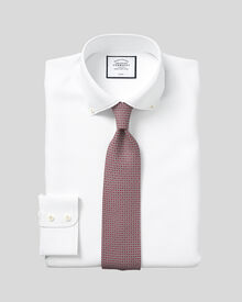 Classic fit button-down collar non-iron twill white shirt