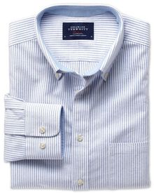 Slim fit blue stripe washed Oxford shirt