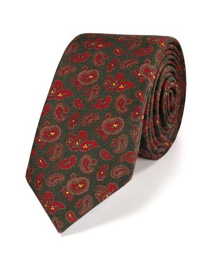 Green luxury wool paisley printed slim tie