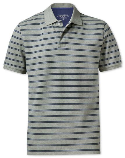 Slim fit grey and blue striped pique polo