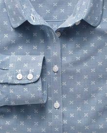 Women's semi-fitted cotton chambray light blue shirt