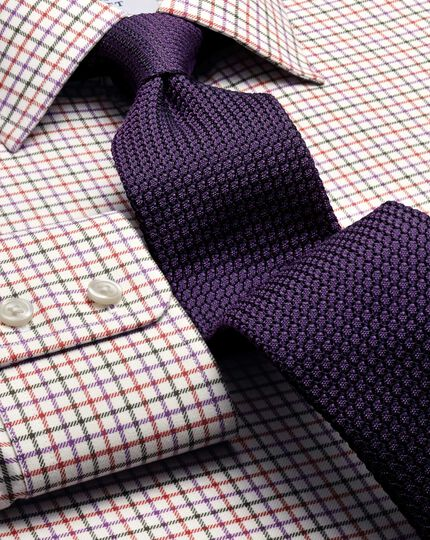 Dark purple silk plain grenadine luxury tie