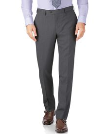 Silver slim fit crepe business suit pants