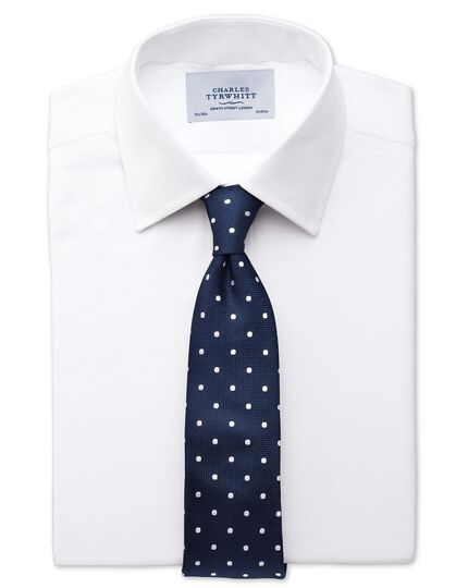 Classic fit small herringbone white shirt