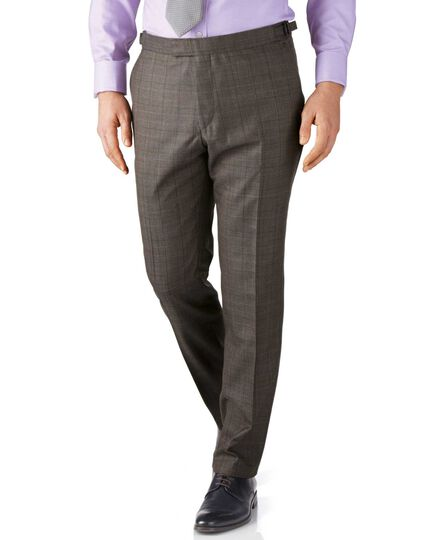 Brown check slim fit British Panama luxury suit pants