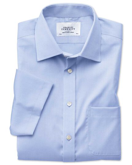 Slim fit non-iron short sleeve sky blue shirt