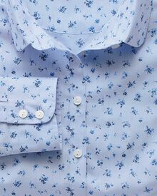 Women's semi-fitted cotton floral print sky and blue shirt