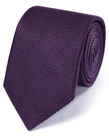Purple silk plain classic tie