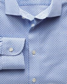 Slim fit semi-cutaway collar non-iron business casual grid check sky blue shirt
