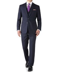 Navy slim fit flannel business suit